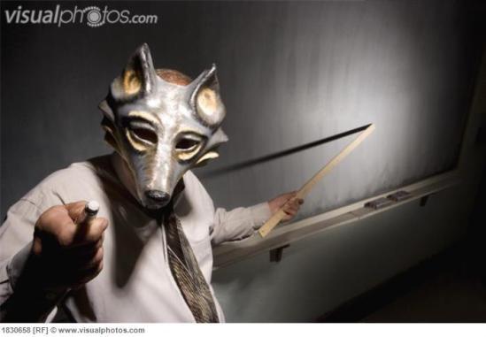 teacher wearing an animal mask