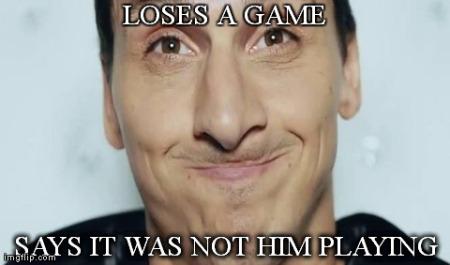 Zlatan avec sa tête zlatanienne.