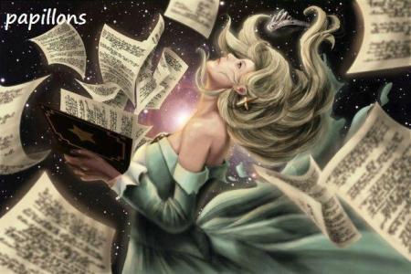 Dessin femme dans l'espace avec des feuilles de papier