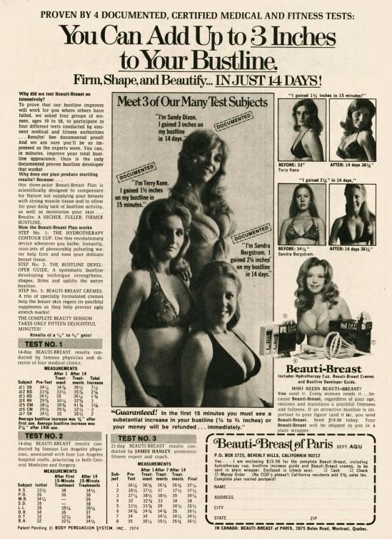 Beauti-Breast-of-Paris vieille publicité pour augmenter la taille des seins