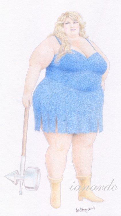 dessin de ianardo d'une femme ronde en bleu appelée angela