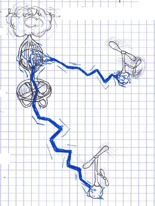 dessin au crayon et feutre bleu de drone avec des arcs électriques.