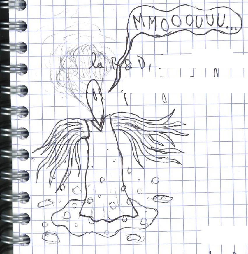 dessin au crayon d'un poulpe gazeux fantôme