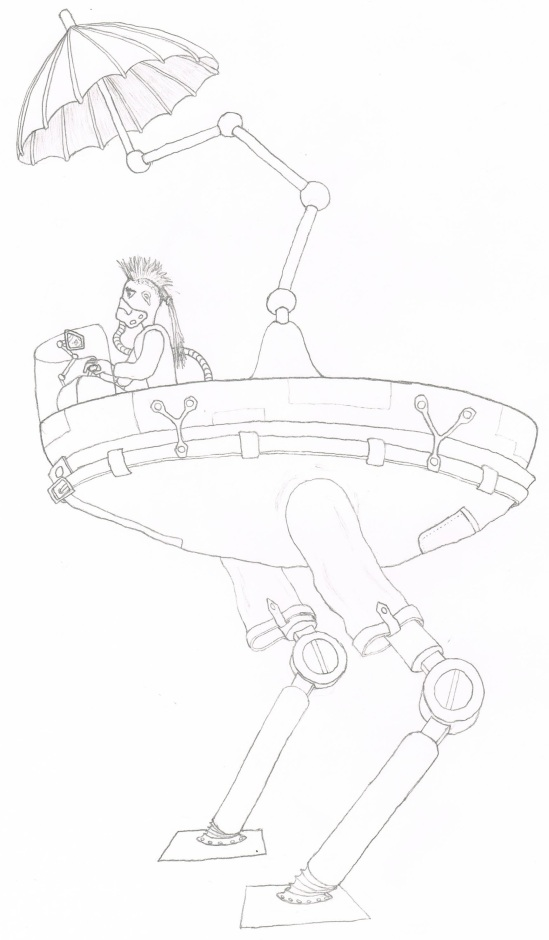 dessin au crayon d'un robot-walker avec un parapluie et une punk