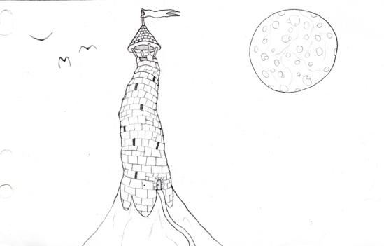 Dessin d'une tour de magicien avec des oiseaux et une Lune géante